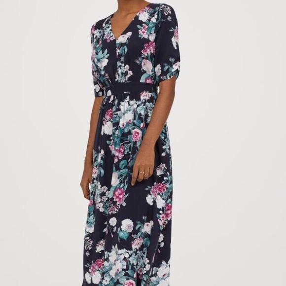 62f54c28736e H&M Dresses | Hm Navy Floral Midi Dress With Tie Belt | Poshmark